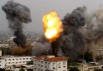 Gaza under siege from Israel bombing in July 2014.