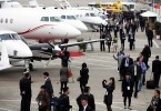 Private jets on display at an aviation show in China.