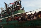 Hundreds of migrants were packed into a rickety boat like this on a journey from Myanmar across the Andaman Sea & hoping to land safely in Thailand, Indonesia or Malaysia.