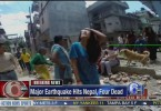 People in Kathmandu rush out into the streets as the quake struck.