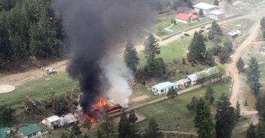 The school the helicopter crashed into in the Gilgit-Baltistan area is ablaze.