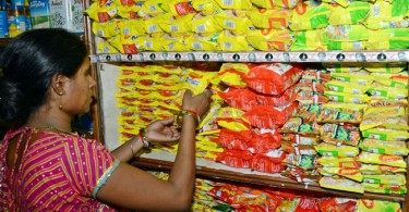 Instant noodles and more instant noodles at this shop in India.