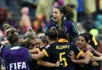 The joy of success. The Matildas celebrate their 1-0 win over favourites Brazil.