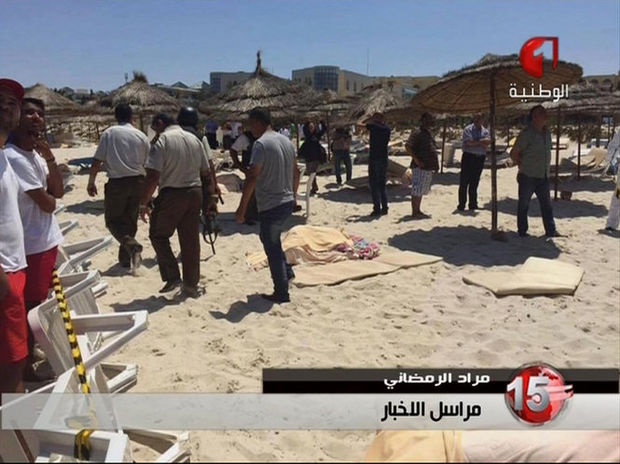 The scene on the beach at the resort minutes after the attack.