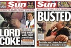 The Sun's front pages on Sewel.