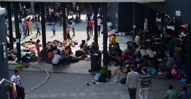 Migrants from Asia and the Middle-East make this railway station in Budapest their temporary shelter. -- AFP photo