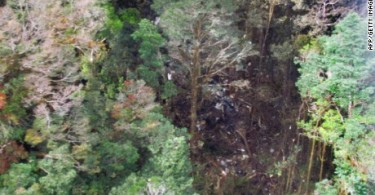 The crash site shows a burnout area. Searchers reported that the plane was destroyed.