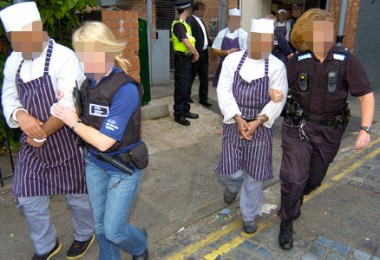 A UK Border Agency operation against suspected illegal immigrants.