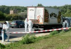 The refrigerated truck left abandoned on an Austrian highway in which the decomposed bodies were found.
