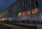Hundreds of migrants camp at the Vienna train station Sunday as Austria announced it was suspending rail services to Germany, with the later also temporarily enforcing border controls at its border with Austria.