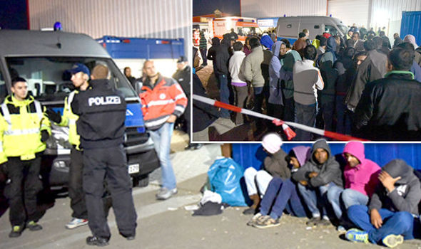 Police assess the situation after a fight broke out at this overcrowded German refugee camp.