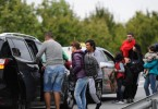 Migrants crossing the border from Hungary get into taxis that will take them to Vienna.