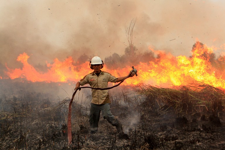 This Indonesian firefighter apppears to have a real battle on his hands to put out the fire behind him. -- AFP photo