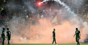 It rained flares at the Shah Alam Stadium near the end of the match between Malaysia and Saudi Arabia on last September 8 as the latter were leading 2-1. -- Photo by AFP/Getty Images