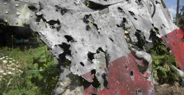 A photo of part of the wreckage from MH17 that was posted online.