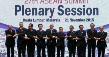 ASEAN leaders pose for an official picture at the 27th ASEAN summit in Kuala Lumpur