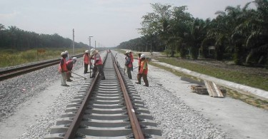 The photo is of work on the northern section of the double tracking project to Padang Besar.