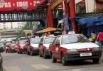 A typical taxi rank in Kuala Lumpur.