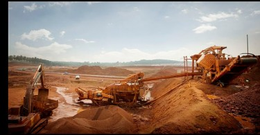One of the many bauxite mining operations in Kuantan.