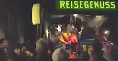 The mob that surrounded the bus in Clausnitz, Saxony.