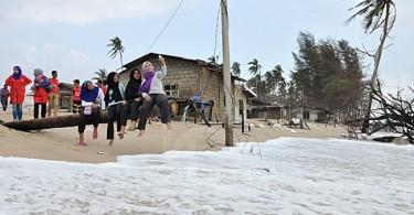 The young in Kampung Pantai Kundur enjoying a day free from the big waves. -- Bernama photo