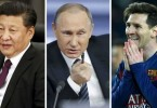 (From left) -- Presidents Xi Jinping and Vladimir Putin and footballer Lionel Messi are amongst those named in the papers.