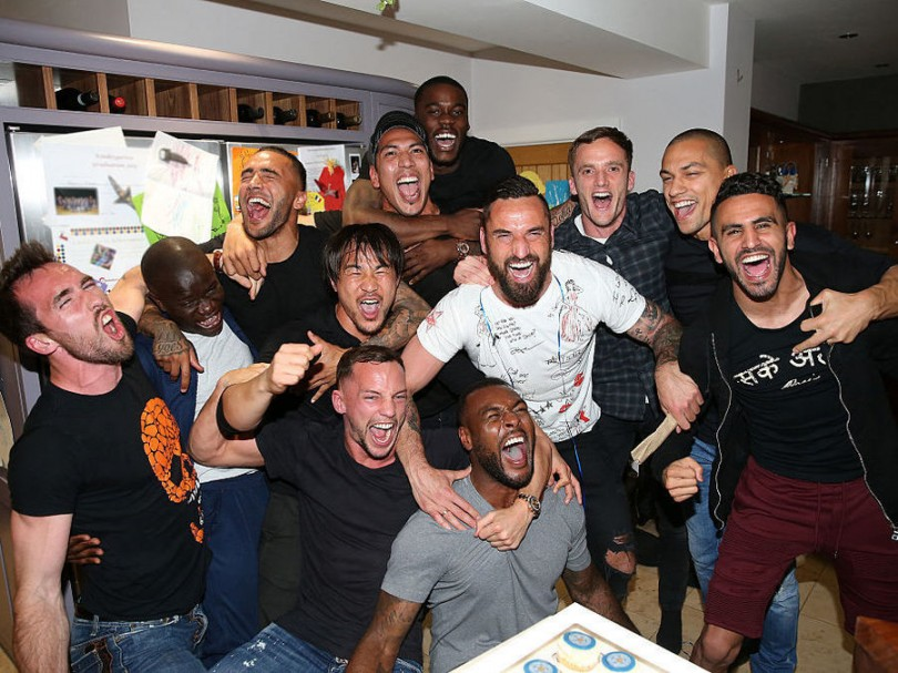 Leicester players who had gathered at striker Jamie Vardy's house to watch the Chelsea-Spurs game celebrate on knowing that the EPL title is theirs. -- Photo by Getty Images/Plumb Images