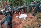 Thirty-five bodies have been discovered so far but it is feared that around at least another 150 villagers are buried by the landslides.