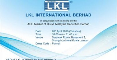 LKL International shares will be listed at the Ace Market of Bursa Malaysia.