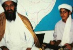 Hamza bin Laden with his father