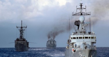 The U.S. and Royal Malaysian Navy vessels KD Lekir (F 26), guided-missile frigate USS Ford (FFG 54) and KD Sri Inderapura (L 1505) sail in formation during Cooperation Afloat Readiness and Training (CARAT) 2008. CARAT is an annual series of bilateral maritime training exercises involving the United States and several Southeast Asian nations designed to build relationships and enhance operational readiness.