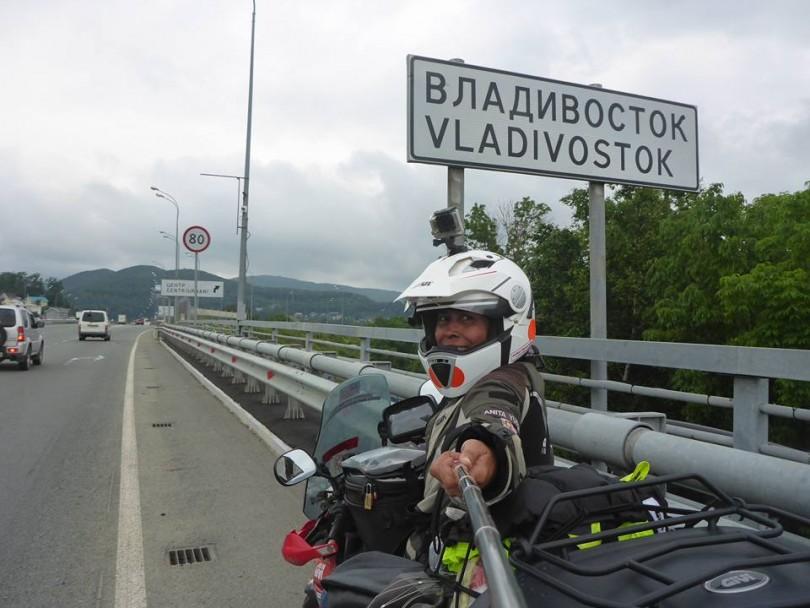 Traveler Anita Yusof at Vladivostok, Russia.