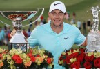 McIlroy with the FedEx Cup and Tour Championship trophies.
