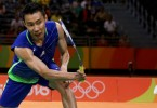 Chong Wei in a playing strip in Rio that was different from the rest of the badminton squad.
