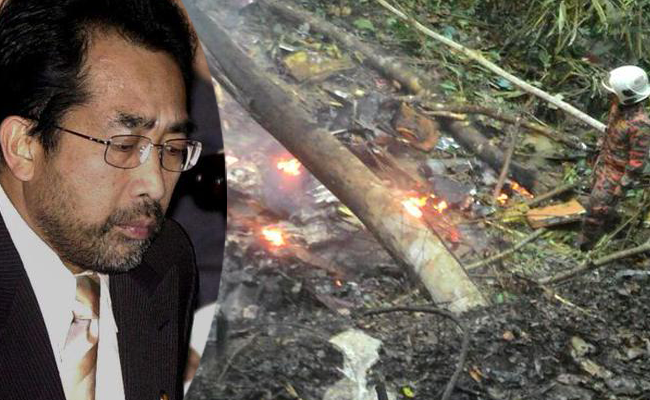 Former minister Jamaluddin was one of those killed in the crash Also photo of the site where part of wreckage was found.