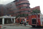 Firefighters putting out the blaze at Sultanah Aminah Hospital, Johor, yesterday.
