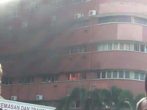 Firemen putting out fire at Sultanah Aminah Hospital - Photo received through Whatsapp messenger.