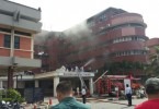 Firemen putting out fire at Sultanah Aminah Hospital, Johor Bharu.