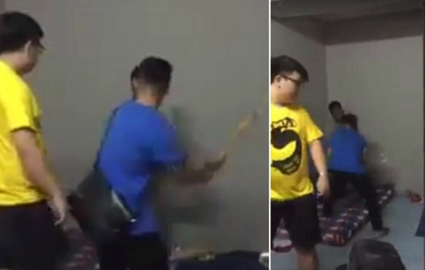 Snippets of the video showing men manhandled a foreigner.