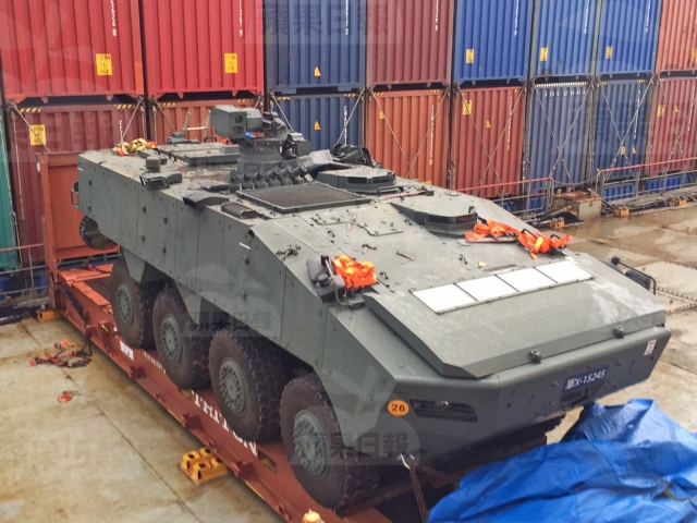 One of the Singaporean armoured troop carriers seized in Hong Kong
