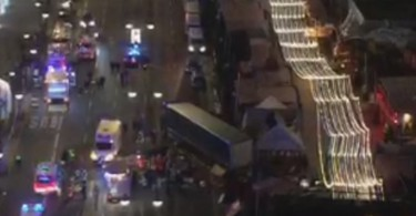 The truck that smashed into the market and caused the carnage.