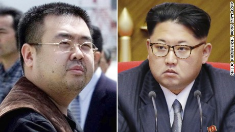 The two half-brothers -- Jong-nam (left) and Jong-un.