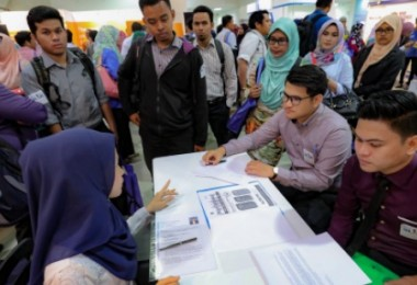 About 10,000 participants were offered on-the-spot job interviews yesterday.