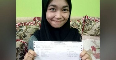 Farah Marcella Bandie scores 6As in SPM examinations, will soon get financial assistance.