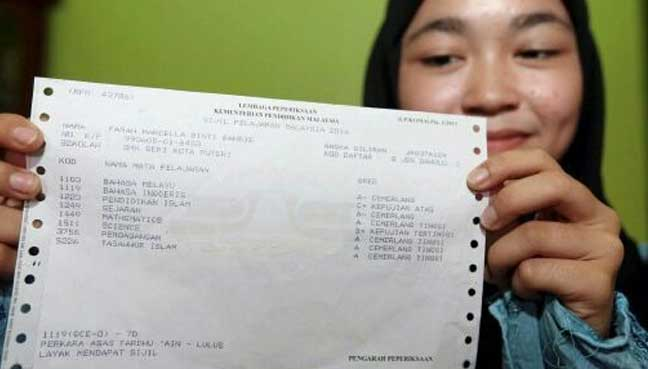 Farah showing her SPM results slip