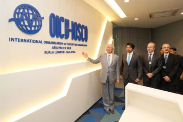 Prime Minister Datuk Seri Najib Razak at the launching of the IOSCO Asia Pacific Hub in Kuala Lumpur yesterday.