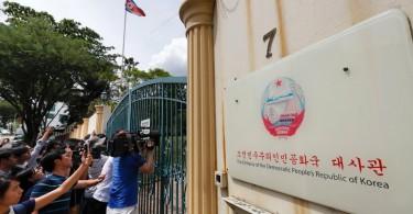 Journalists wait outside North Korean Embassy in Kuala Lumpur on Feb 22