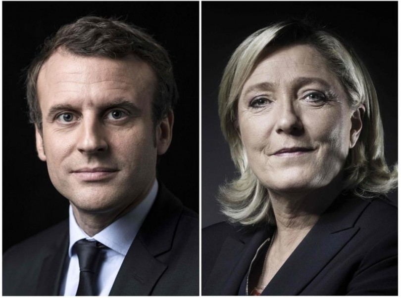 Macron (left) is seen as the favourite to be the next French president.