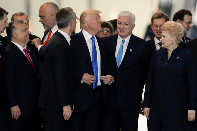 President Trump at the Nato summit in Brussels.