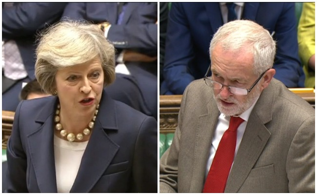 An exit poll indicates that May's Conservatives will lose their majority in parliament and a coalition government led by Corbyn's Labour Party may still be possible.